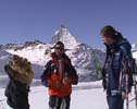 Klaus Tscherrig and Lukas in front of the Matterhorn on our way to Zermatt